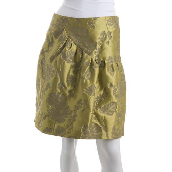Vera Wang Lavender Label Silk Brocade Skirt - US 4 -  Chartreuse