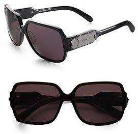 Chloe Oversized Signature Plaque Sunglasses - Black