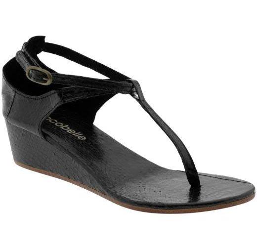 Cocobelle Snakeskin Wedge Sandal - 36 - Black