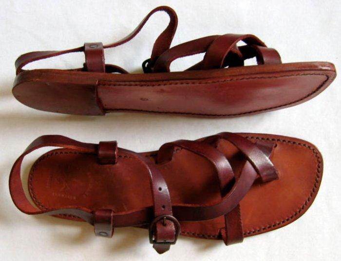 Firenze Handcrafted Men's Vachetta Leather Sandals - US 11 - Brown