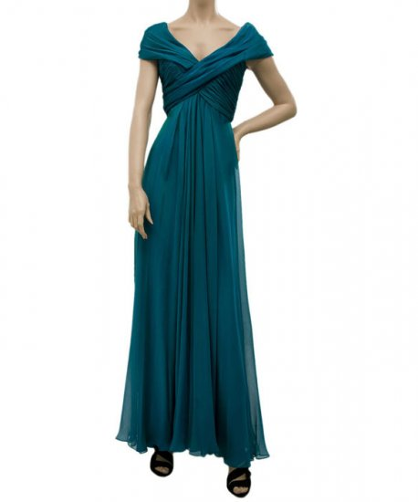 Carmen Marc Valvo Chiffon Evening Gown - US 6 - Ocean