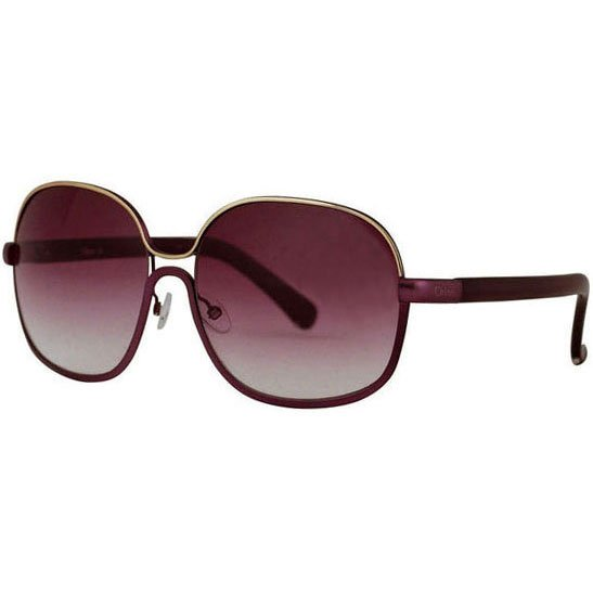 Chloe Oversized Chrome Vintage Sunglasses - Plum