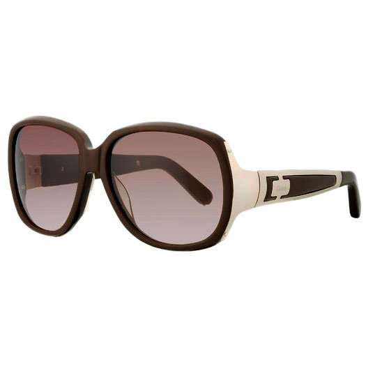 Chloe Oversized Hakea Vintage Sunglasses - Brown/Gold