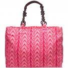 ViX Pink Chevron Print Beach Tote w/Beaded Handles