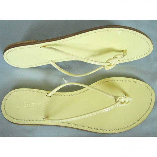 J. Crew Patent Leather Knotted Capri Sandals - US 9 - Buttercream