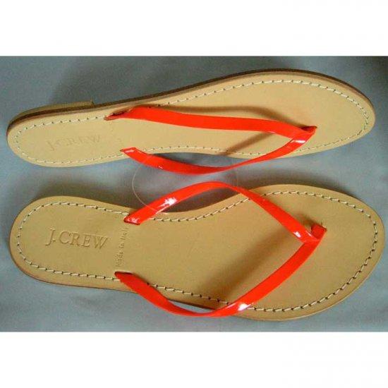 J. Crew Neon Patent Leather Capri Sandals - US 9 - Punch