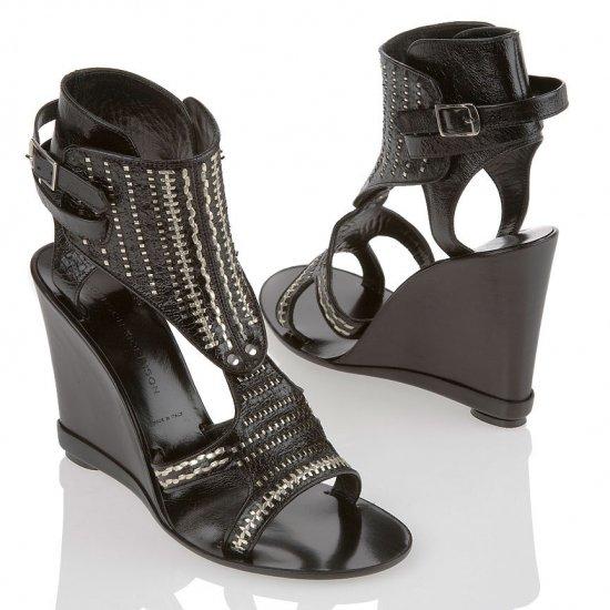Sigerson Morrison Black Leather Wedge Sandal - US 9