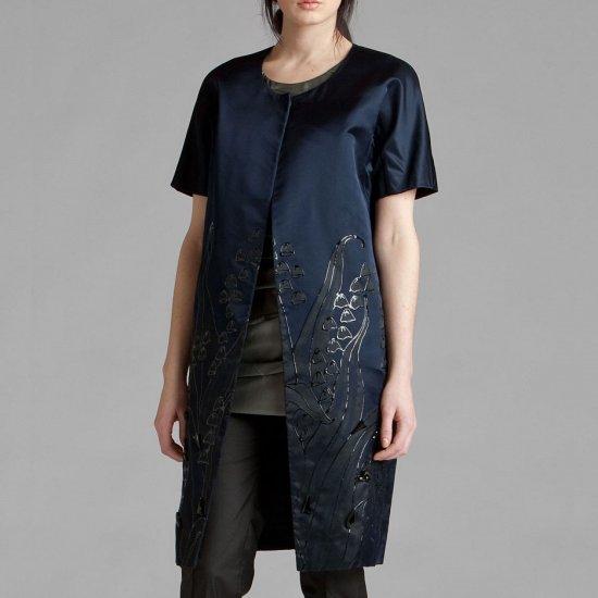 Vera Wang Handpainted Silk Satin Dress Coat - US 4