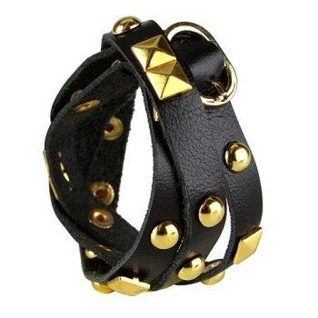 Nakamol Rocker Stud Leather Wrap Bracelet - Black