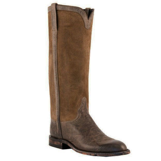 Lucchese Goat Suede Riding Boot - US 9.5 - Waxy Olive Brown