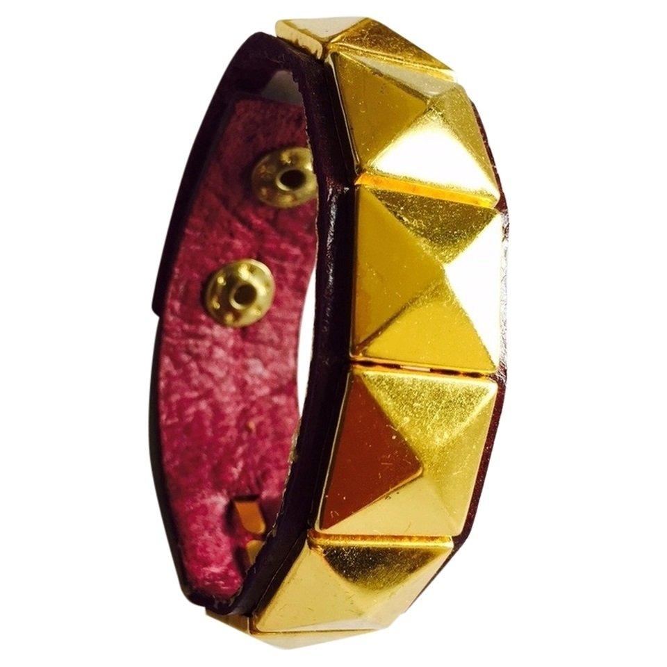 Nakamol Leather Pyramid Stud Cuff Bracelet - Plum