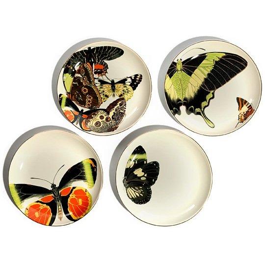 D.L. & Co. Butterfly Porcelain Plates (Set of 4)