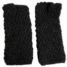 Alpaca Hand Knit Armwarmers - Black