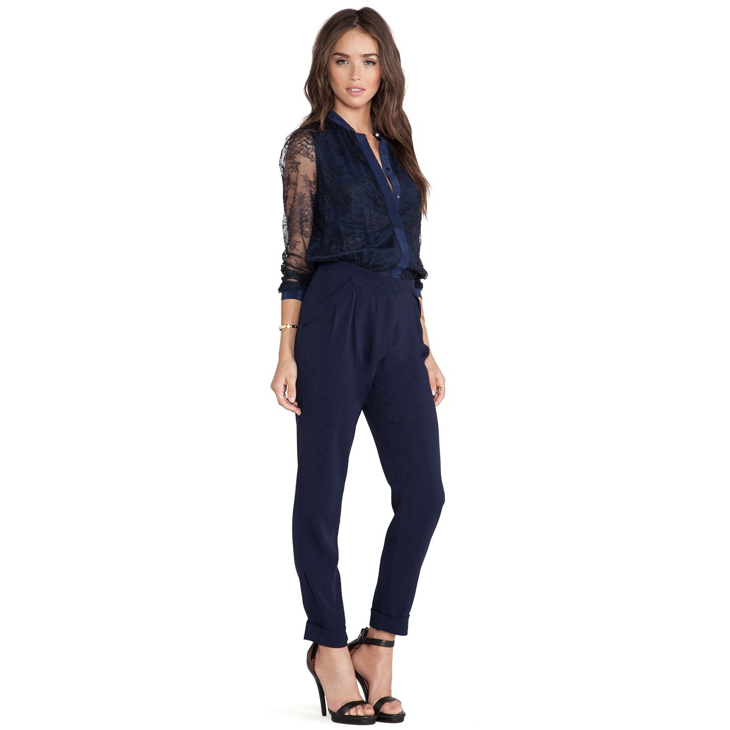 Marchesa Voyage Lace Sleeved Jumpsuit - US 6 - French Navy/Black