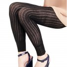French Curve Ribbed Black Button Cuff Leggings - M/L