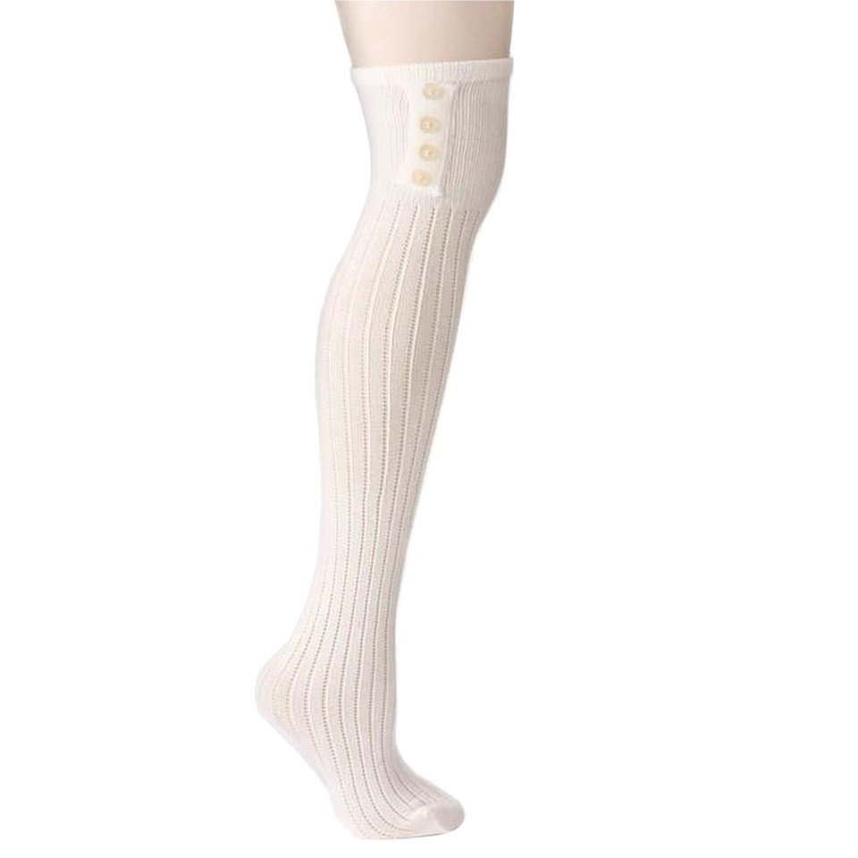 French Curve Ribbed Knit Ivory Over-the-Knee Socks