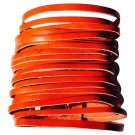Wide Leather Strips Cuff Bracelet - Coral