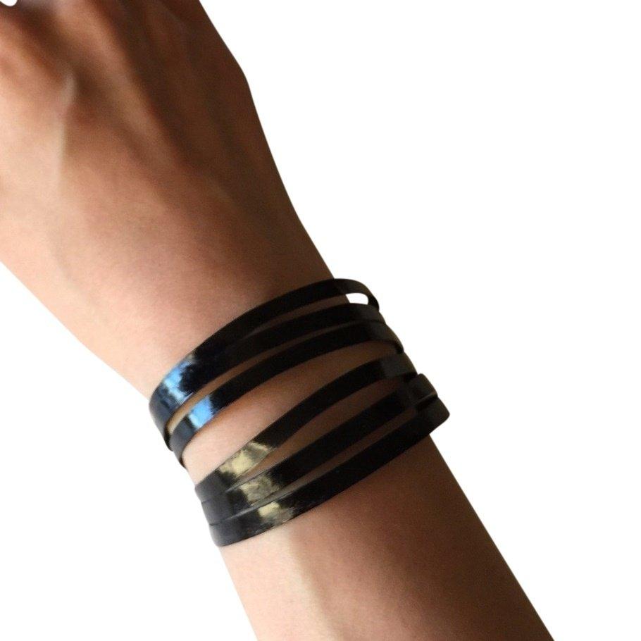 Slim Leather Strips Cuff - Glazed Midnight