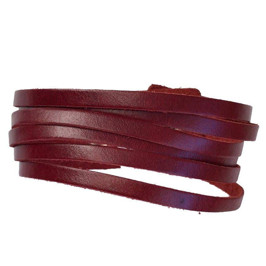 Slim Leather Strips Cuff - Brick