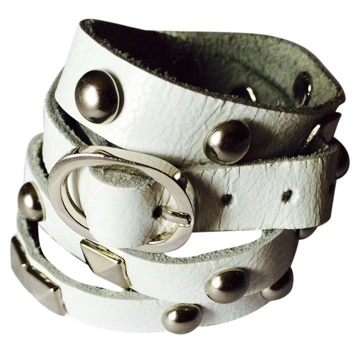 Nakamol Rocker Stud Leather Wrap Bracelet - White/Silver