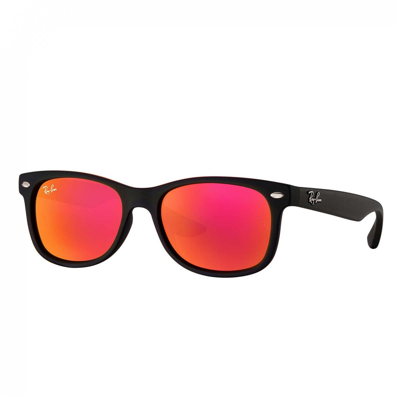 Ray-Ban Jr New Wayfarer Sunglasses - Matte Black/Red Flash - 47mm