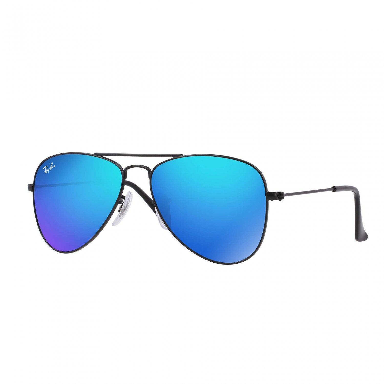 Ray-Ban Jr Aviator Sunglasses - Matte Black/Mirror Blue