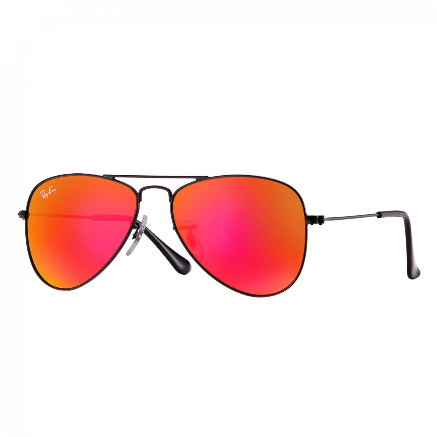 Ray-Ban Jr Aviator Sunglasses - Matte Black/Mirror Red