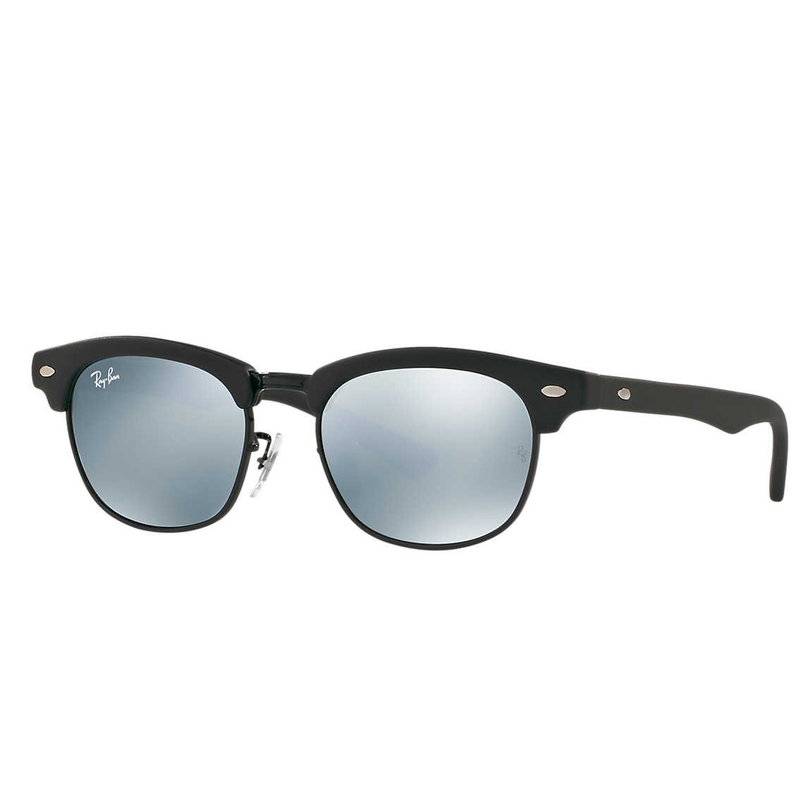 Ray-Ban Jr Clubmaster Sunglasses - Matte Black/Mirror Grey