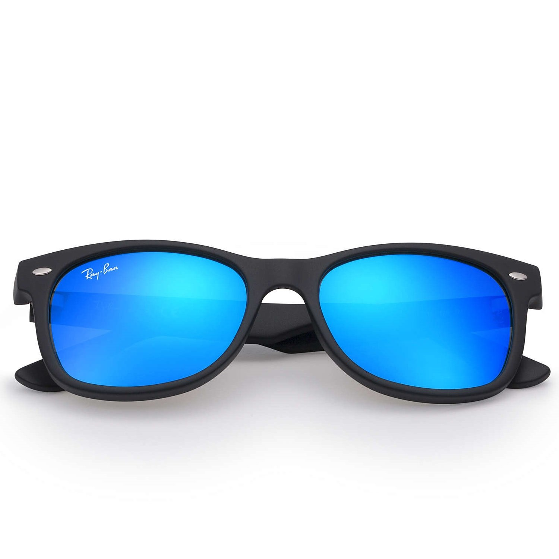 Ray-Ban Kids' New Wayfarer Sunglasses - Matte Black/Blue Flash - 50mm