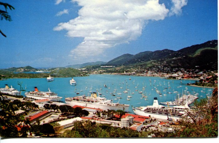 St. Thomas Cruise Ships in Charlotte Amalie Harbor Post Card