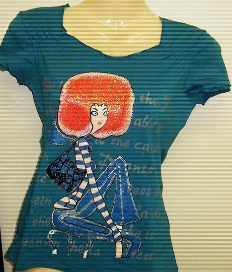 Trendy Fashion Designer T-Shirt Turquoise/Green