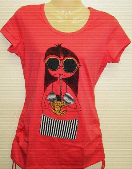 Women Trendy Fashion Designer T-Shirt Dress Peach/Pink