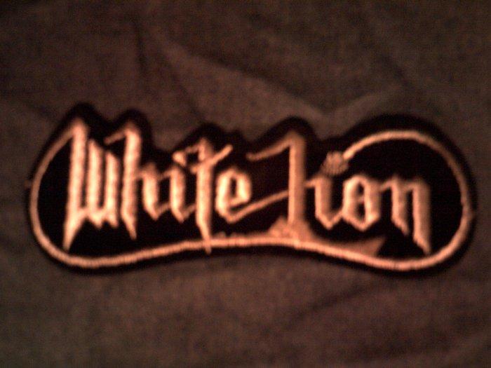 WHITE LION iron-on PATCH silver logo vito bratta VINTAGE
