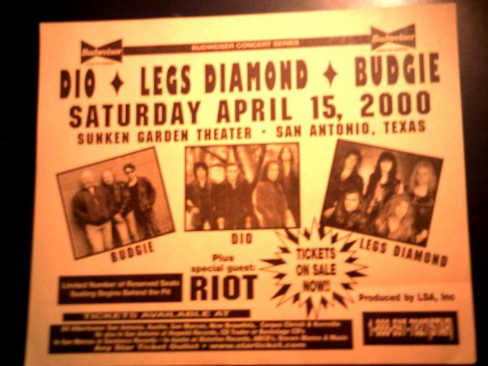 CONCERT FLYER Ronnie James Dio Legs Diamond Budgie Riot texas