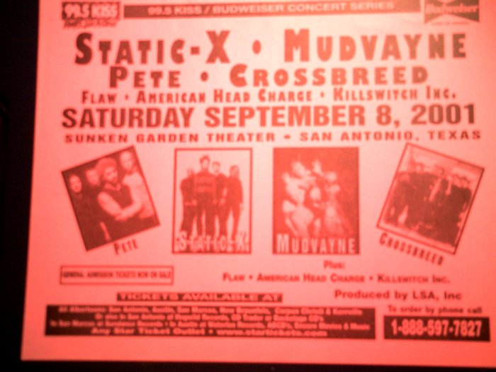CONCERT FLYER Static-X Mudvayne Crossbreed American Head Charge texas