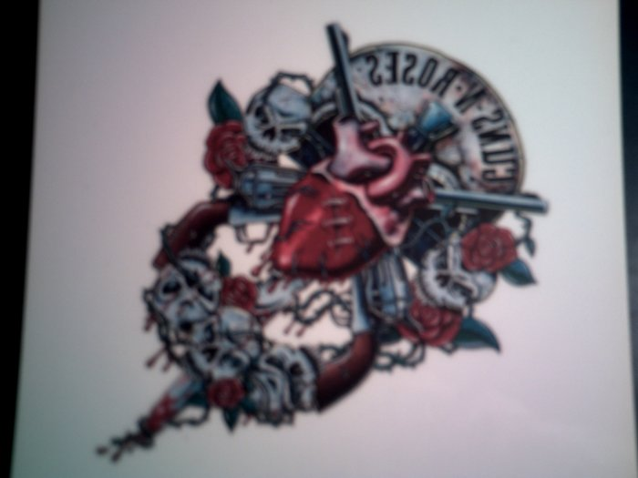 GUNS N ROSES DECAL not STICKER human heart logo VINTAGE
