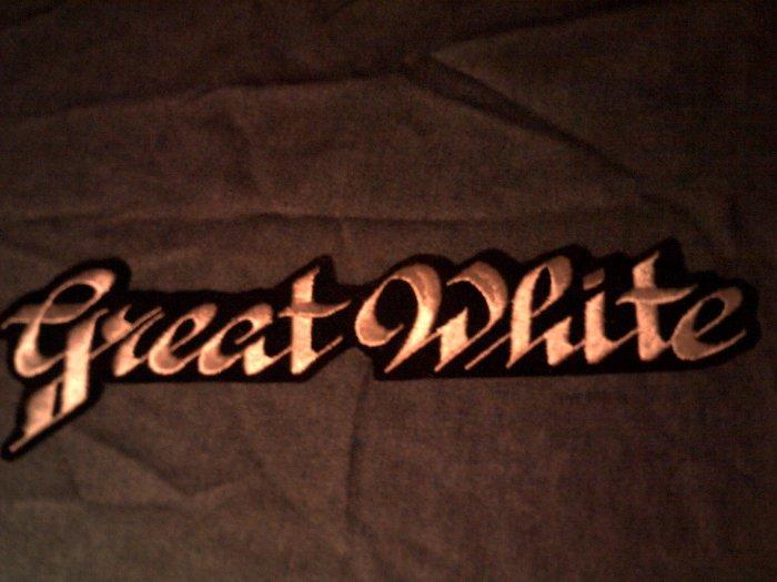 GREAT WHITE iron-on PATCH classic logo VINTAGE JUMBO!