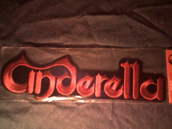 CINDERELLA iron-on PATCH red logo VINTAGE JUMBO!