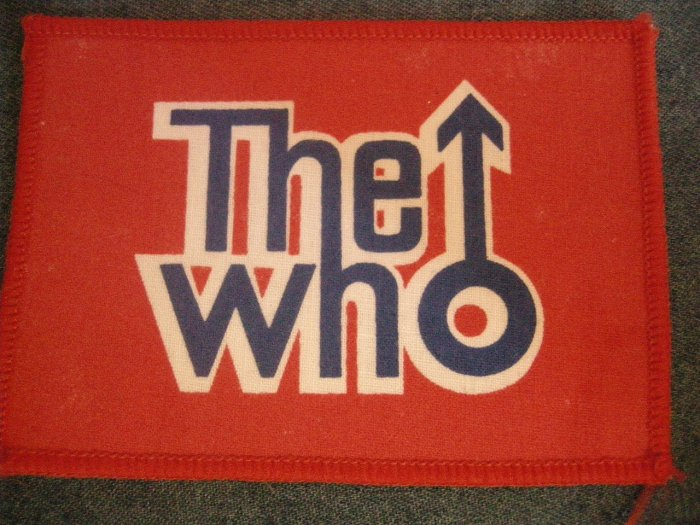 THE WHO sew-on PATCH red classic logo square VINTAGE