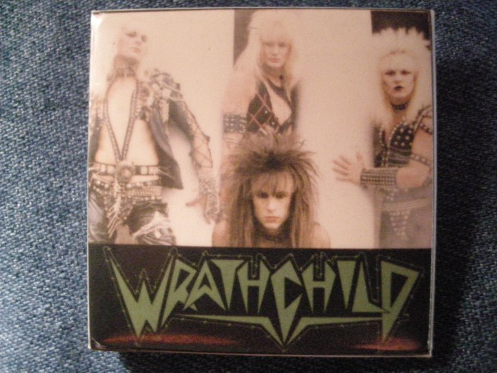 WRATHCHILD PINBACK BUTTON square band pic VINTAGE