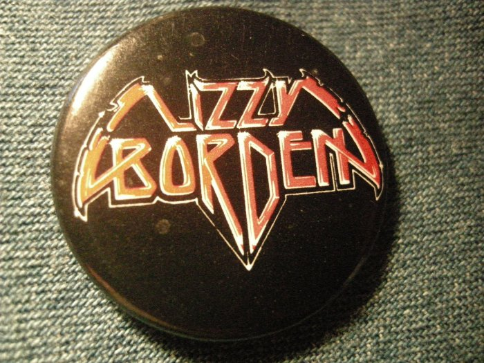 LIZZY BORDEN PINBACK BUTTON red classic logo VINTAGE