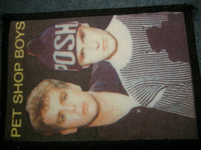 PET SHOP BOYS sew-on PATCH color band pic VINTAGE