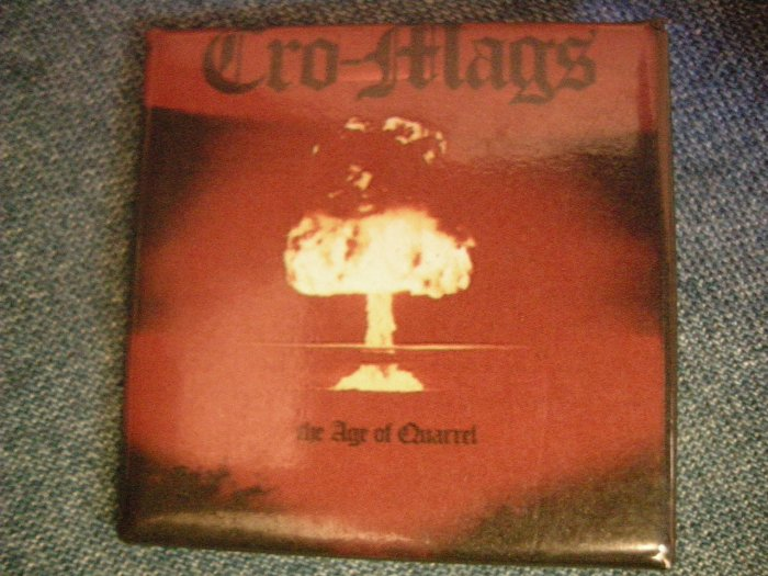 CRO-MAGS PINBACK BUTTON square Age of Quarrel cromags VINTAGE