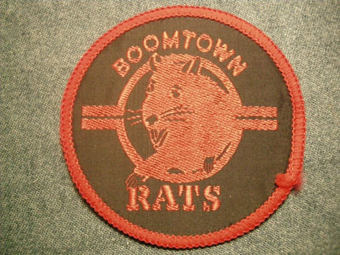 THE BOOMTOWN RATS sew-on PATCH bob geldof round VINTAGE