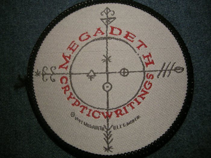 MEGADETH sew-on PATCH Cryptic Writings round IMPORT