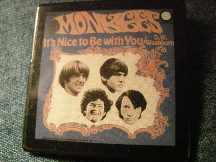 THE MONKEES PINBACK BUTTON It's Nice To Be With You album art square VINTAGE 80s!