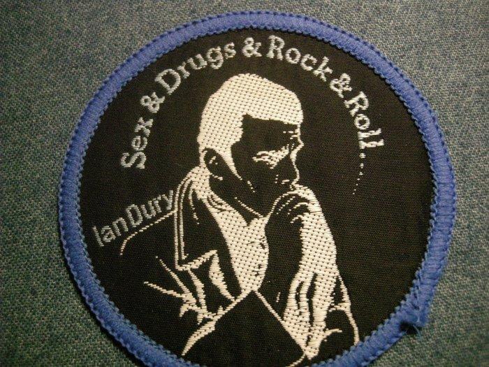 IAN DURY sew-on PATCH Sex Drugs Rock & Roll blockheads punk VINTAGE
