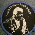 IAN DURY sew-on PATCH Sex Drugs Rock & Roll blockheads punk VINTAGE