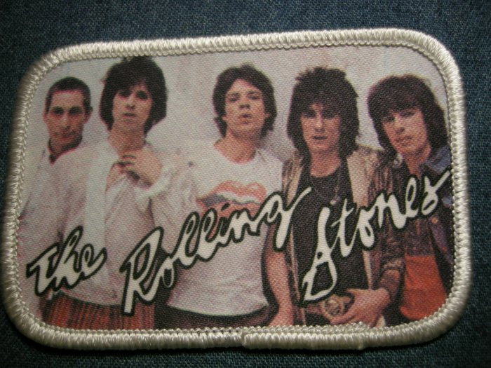 THE ROLLING STONES sew-on PATCH white color band photo VINTAGE 80s