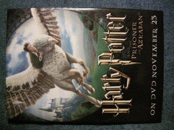 HARRY POTTER PINBACK BUTTON Prisoner of Azkaban griffon video PROMO